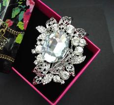 Crystal Wedding Brooch, Rhinestone Brooch Pin, Large Brooch Silver Brida... - $8.95