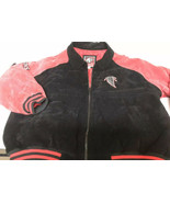 Atlanta Falcons Carl Banks Leather Suede Jacket Mens Size XL NFL Red Bla... - $43.56