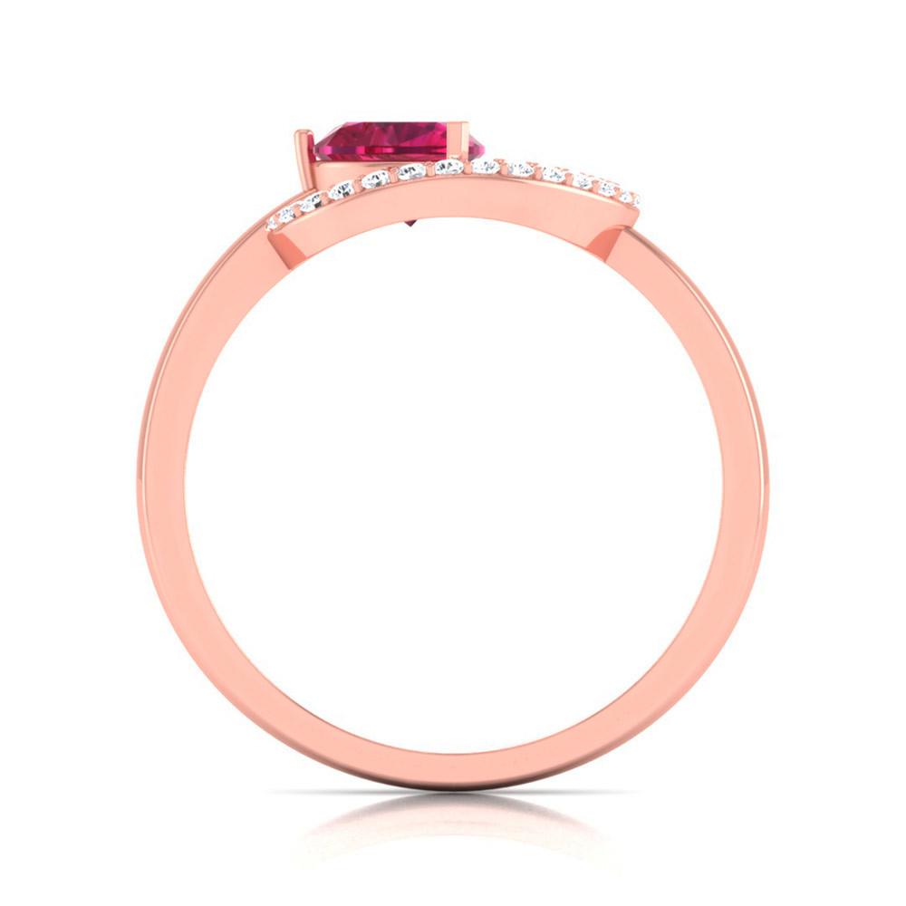 14K Rose Gold Ring Pink Ruby Diamond Love Ring Women Anniversary Ring Free Ship