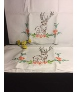 Vintage Embrodiery Deer Pillow Cases Excellent Condition - $39.59