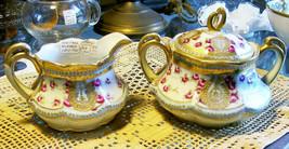 Antique Noritake Nippon Gold Encrusted Cream & Sugar Set Mini Roses Light Blue - $65.00
