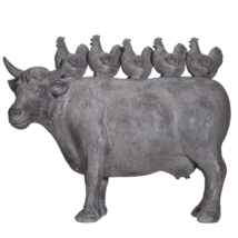 Rustic Decor Barnyard Designs Stacked Chickens on Cattle Cow Figurine 13.5 inch - $37.61