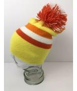 Vintage Pom Pom Hat Retro Bright Color Block Yellow Orange White Cap USA - $34.84