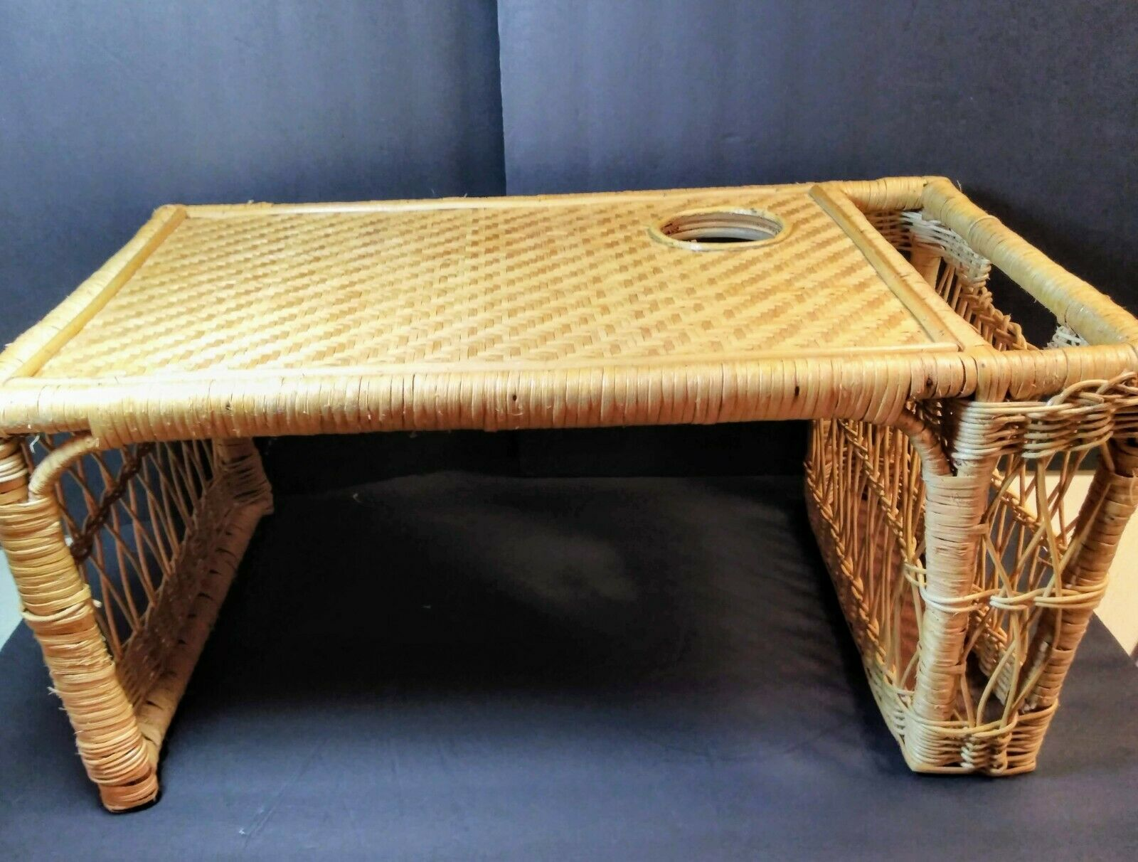 Primary image for Vintage Bamboo Wicker Breakfast Bed Tray Newspaper Book Holder Rattan Woven