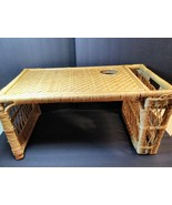 Vintage Bamboo Wicker Breakfast Bed Tray Newspaper Book Holder Rattan Wo... - $79.20
