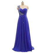 Royal Blue Beaded Chiffon Evening Dress A Line Fashion Prom Party Dresse... - $65.00