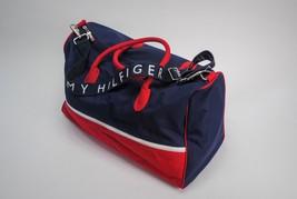 Tommy Hilfiger Vintage  Big Logo Navy Blue Red Duffle Luggage Gym Bag Tote - $33.73