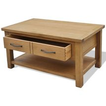 vidaXL Oak Coffee Table w/ Drawer Shelf Wooden End Couch Sofa Side Tea Stand image 3