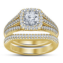 14k Yellow Gold Finish 925 Solid Sterling Silver Womens Bridal Diamond R... - $94.99