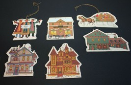 Charles Wysocki Christmas Ornaments 1989 Cardboard Houses Carriages Village - $8.99
