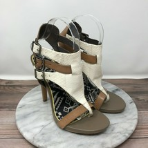 Sam Edelman Lucia White Brown Leather Gladiator Sandals Womens Size 7.5 - $34.95