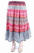 ELEMENTZ Womens Brown, Red  Print Tea-Length Peasant Skirt XL - $18.80