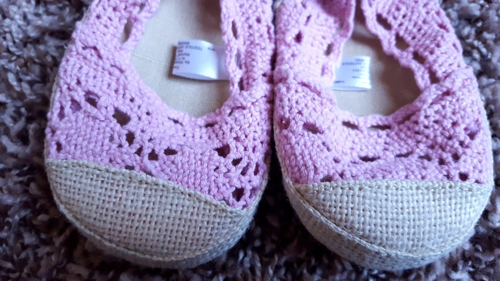 NWT Baby Girl's Size 3 First Steps Pink Crocheted Slip On Crib Shoes 6-9 Months