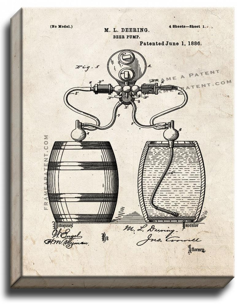 Primary image for Beer Pump Patent Print Old Look on Canvas