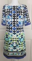 NWT Women's Eliza J Retro Mod Geometric Abstract Zip-Up Lined Shift Dress Sz 4 - $34.95