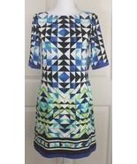 NWT Women's Eliza J Retro Mod Geometric Abstract Zip-Up Lined Shift Dres... - $34.95