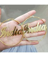Personalized Stainless Steel Brincos Custom Name 70MM Bohemian Earrings ... - $29.99