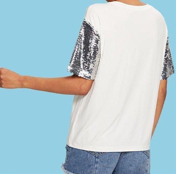 Sequin Sleeve Figure Print Tee T-Shirt Short Sleeve Casual Summer Top 4 Color