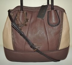 New Guess Corinna Satchel Handbag With Removable Crossbody Strap Taupe Multi - $98.95