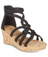 Sugar Little & Big Girls Braided-Strap Cork Wedge Sandals Black Size 1M - $34.29