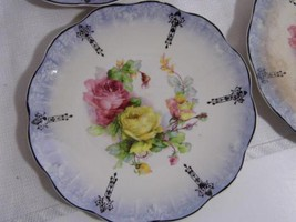 "4 rare mid 1800s ~ MINTON China roses pattern pearlized 7 1/2"" SIDE bread PLATES - $19.99"