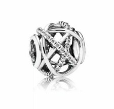 Authentic Pandora 925 ALE Sterling Silver Galaxy Clear CZ Bead Charm 791... - $19.62