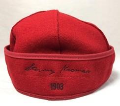 Stormy Kromer Cap Red Black Sz Wool Made in USA Hat Baseball Engineer 6 7/8 image 2
