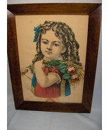 1800's Color Lithograph Girl With Curls Carrying Flowers Framed Victoria... - $64.35