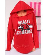PINK VS Collegiate Collection Miami Redhawks Logo Hooded T-Shirt S Small... - $44.99