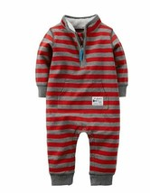 Carter's Baby Boys' Terry Red Stripe Coverall Airplane Tours Jumpsuit 3M - $14.84