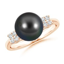 9mm Tahitian Cultured Pearl Cluster Diamond Ring Silver/ Gold Size 3-13 - $370.89+