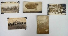 LOT antique WWI RPPC photo postcards PERSHING BLIMP SOL - $47.95