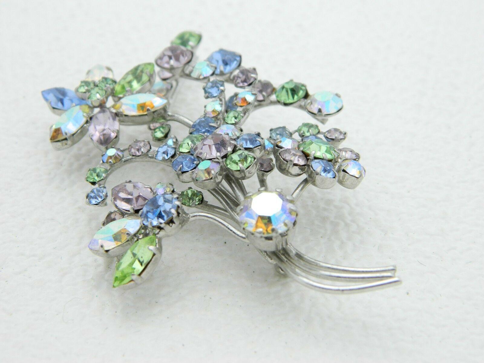 VTG AUSTRIA Signed Silver Tone Pastel AB Crystal Rhinestone Large Flower Brooch