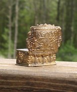 "Antique 1.5"" Ornate Brass Wild West Victorian Sloped Pill Snuff Trinket Box - $145.00"