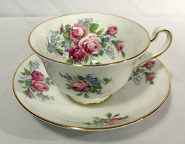 Vintage Rosina-Queens Cup & Saucer Footed 4870 Roses (Smooth) Bone China... - $12.86