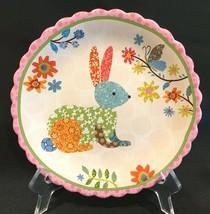 "Cracker Barrel Easter Scalloped Edge Bunny Rabbit 8-1/2"" Salad Dessert P... - $14.99"