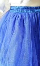 Cobalt Blue Midi Tulle Skirt Blue High Waist Ballerina Skirt Petticoats Plus NWT image 5