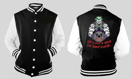 Joker Weight Lifting Workout Letterman Varsity Baseball Fleece Jacket - $28.99
