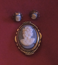 Vintage Resin Cameo Brooch & Signed Sterling Silver Pierced Earrings Mar... - $24.75