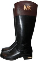 Michael Kors  Hayley Gold Mk Black Leather Flat Riding Boot Riding Bootie 6.5 - $168.00