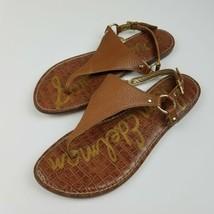 Sam Edelman Size 9 Greta Thong Sandal Brown Pebbled Leather Gold Hardware  - $34.65