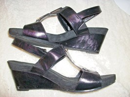Aerosoles A-2 Sandals Wedges Platforms Size 9-1/2 M Black Excellent, 19M19 - $15.83