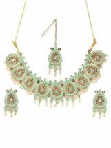 Pearls Enamelling Mint Green Traditional Necklace Earring & Maangtikka S... - $36.62