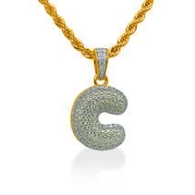 """925 Sterling Silver Gold Plated Custom Iced Out Bubble Letter """"C"""" with 24"""" Chain - $79.99"""