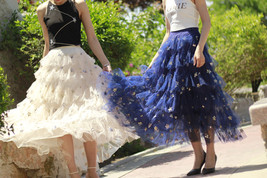 Layered Tulle Midi Skirt Champagne Navy Tulle Ruffle Skirt Gold Star Deco image 2