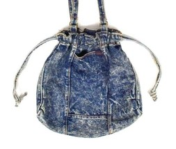 Vtg Blue Acid Wash Denim Shoulder Bag Satchel Purse Drawstring Tear Drop... - $34.64