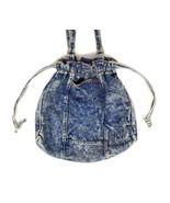 Vtg Blue Acid Wash Denim Shoulder Bag Satchel Purse Drawstring Tear Drop... - $34.64
