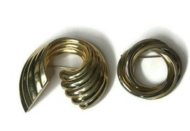 Vintage Lot of 2 Gold Tone Wrapped Swirl Weaved Pin Brooch Jewelry - $13.06