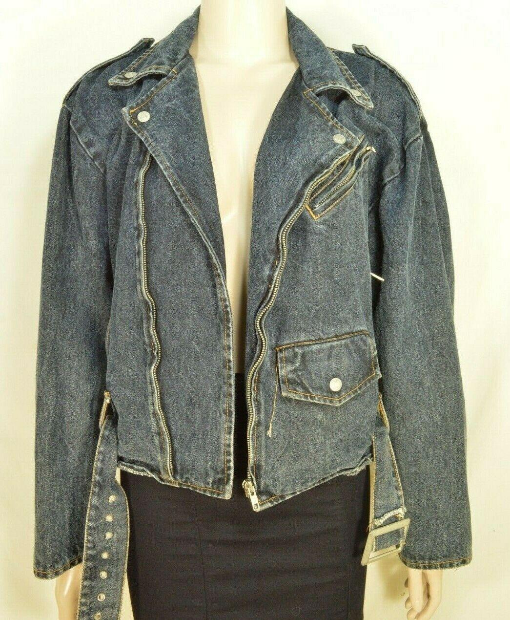 Jordache jeans jacket SZ M denim moto style vintage zippers pockets belt dark