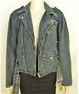 Jordache jeans jacket SZ M denim moto style vintage zippers pockets belt... - $69.29